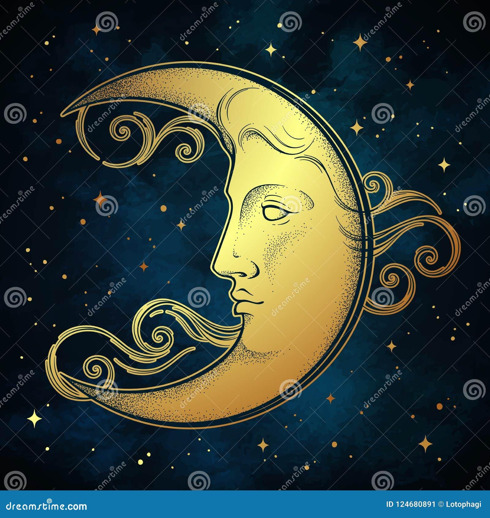 Croissant de lune et étoiles dans tiré par la main schéma et dotwork style antique Tatouage chic de Boho, affiche, voile d autel,