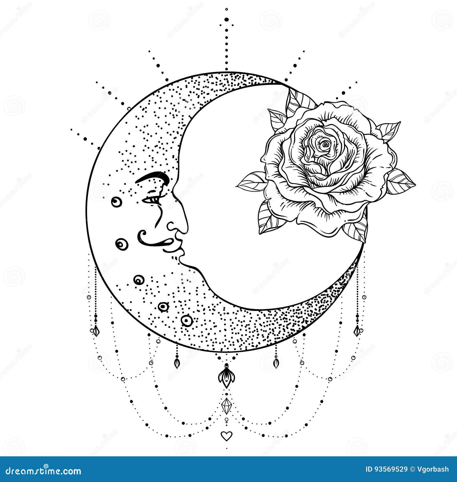 Croissant De Lune Fleur Rose La Geometrie Sacree Tatouage La
