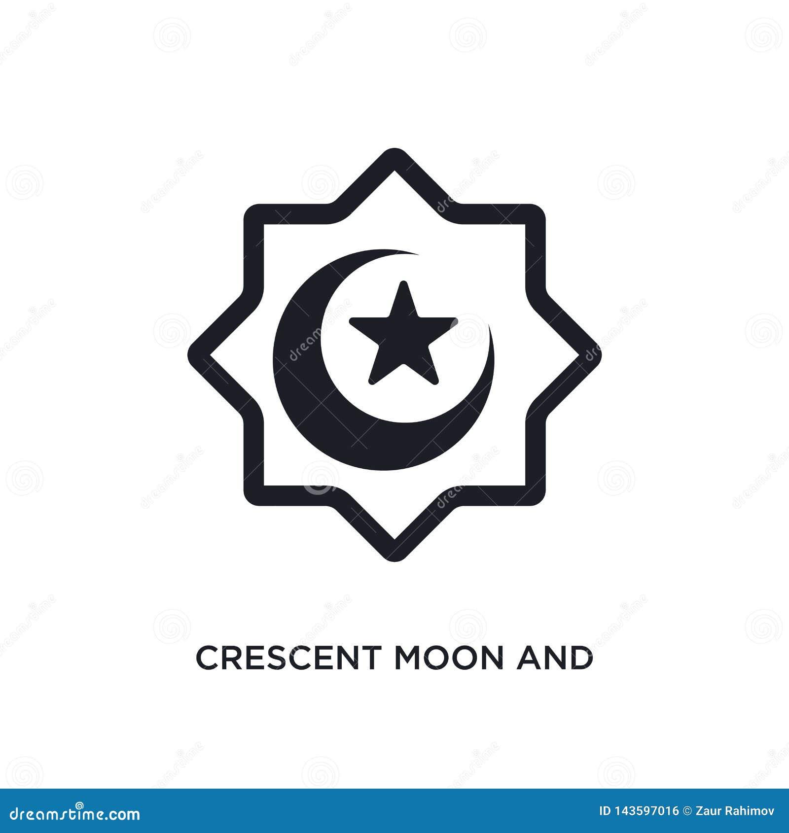 Croissant De Lune Noir Et Icone De Vecteur D Isolement Par Etoile