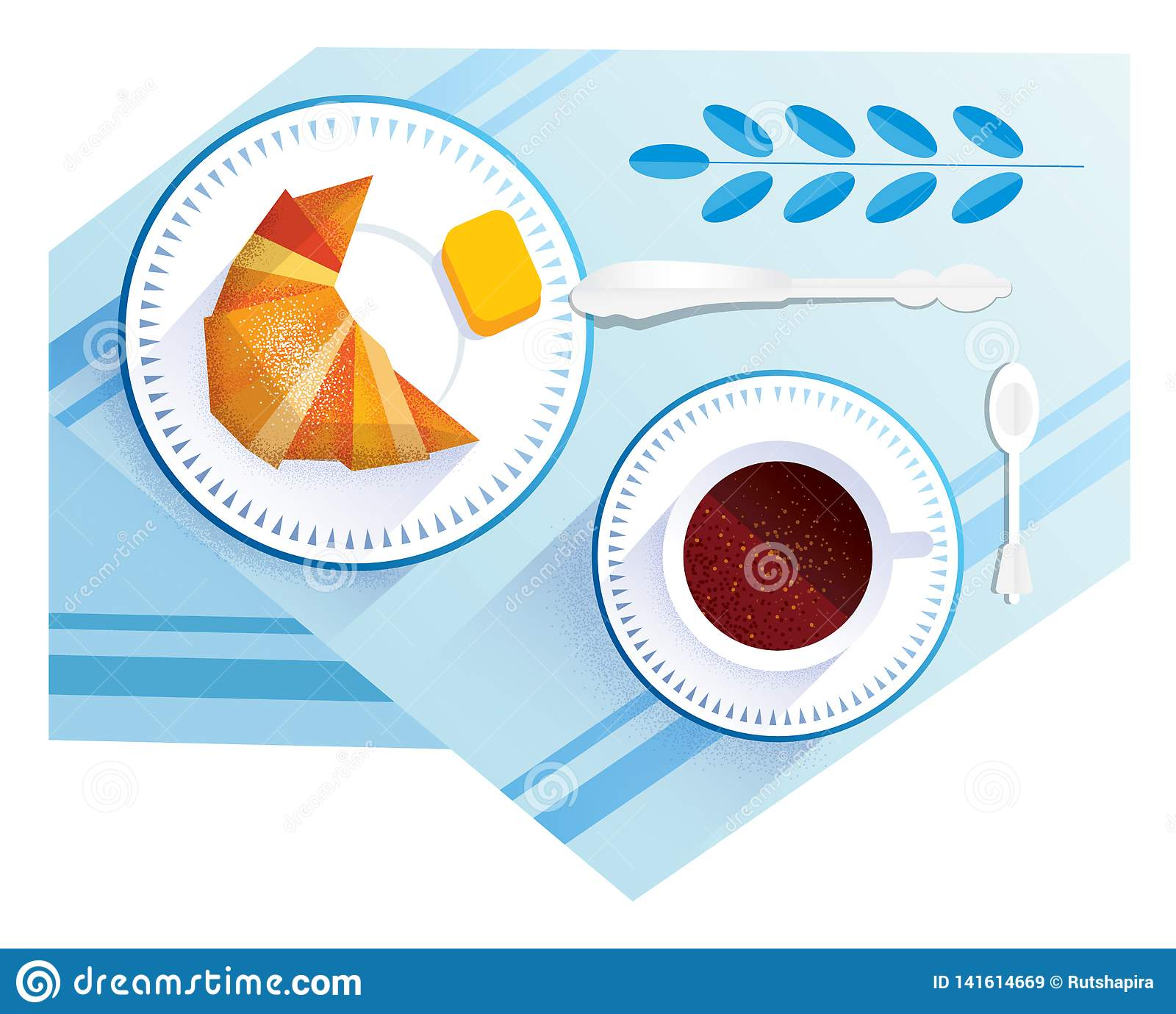 Croissant i filiżanka kawy