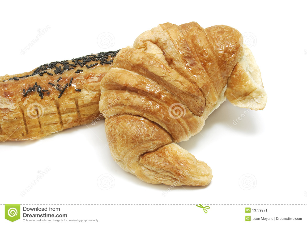 Croissant and pain au chocolat isolated on a white background.