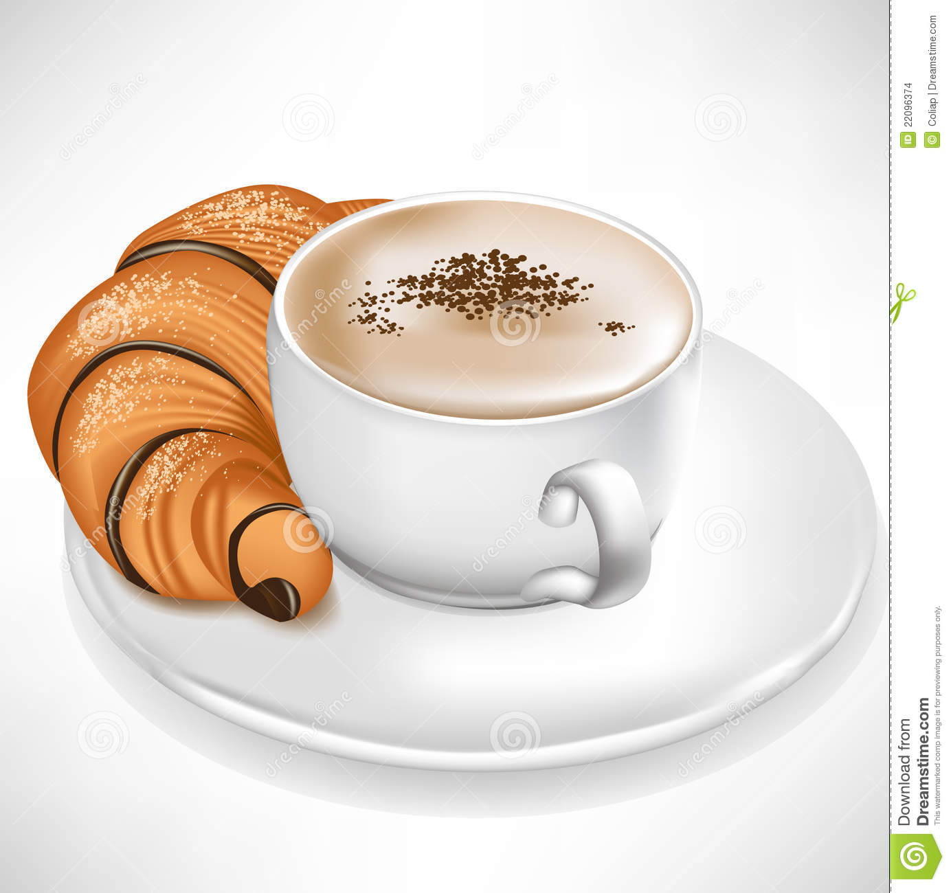 Croissant Served With Coffee Cup Stock Images - Image: 22096374