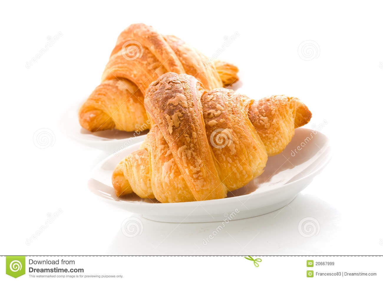 Photo of delicious tasty golden croissants on white background.