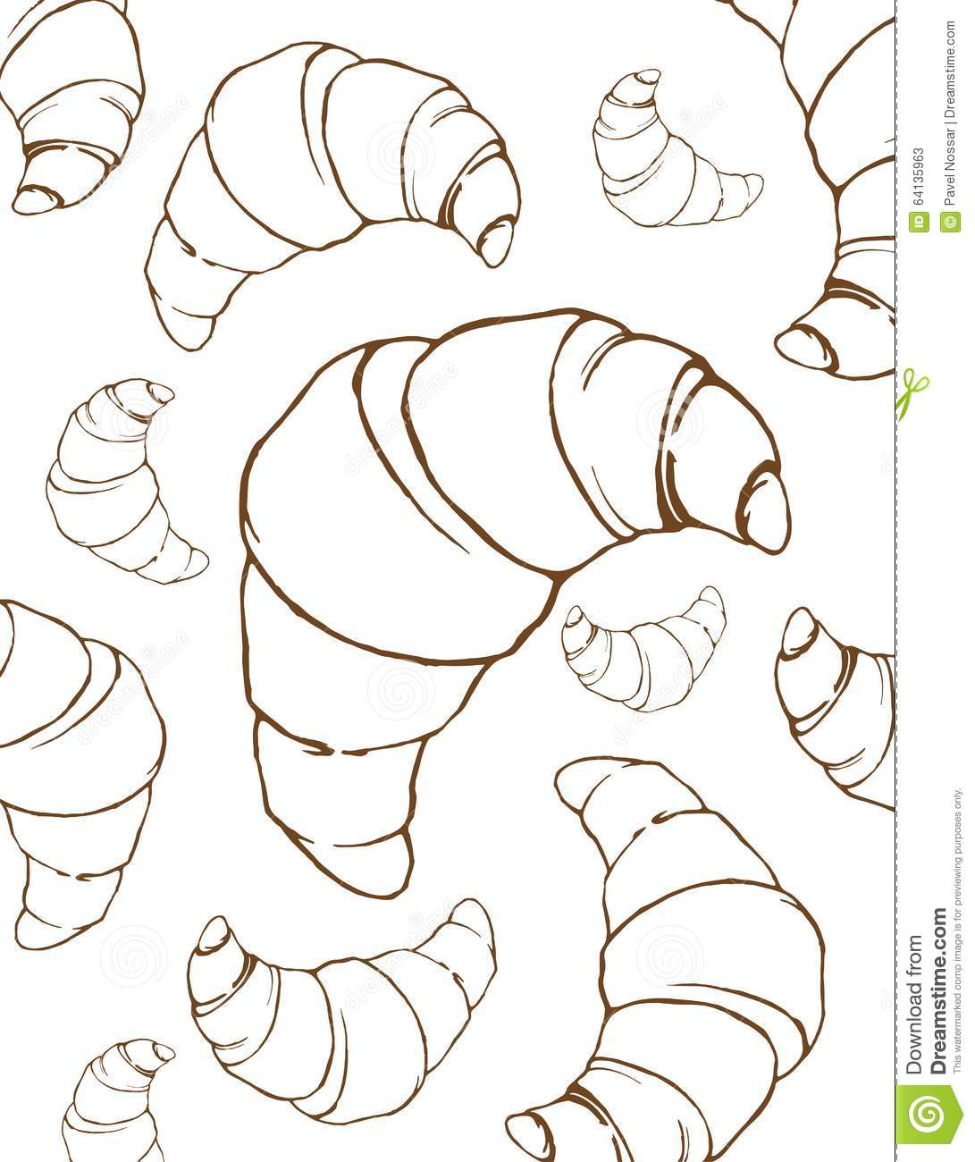 Croissants Linear Drawing Background Stock Vector Image
