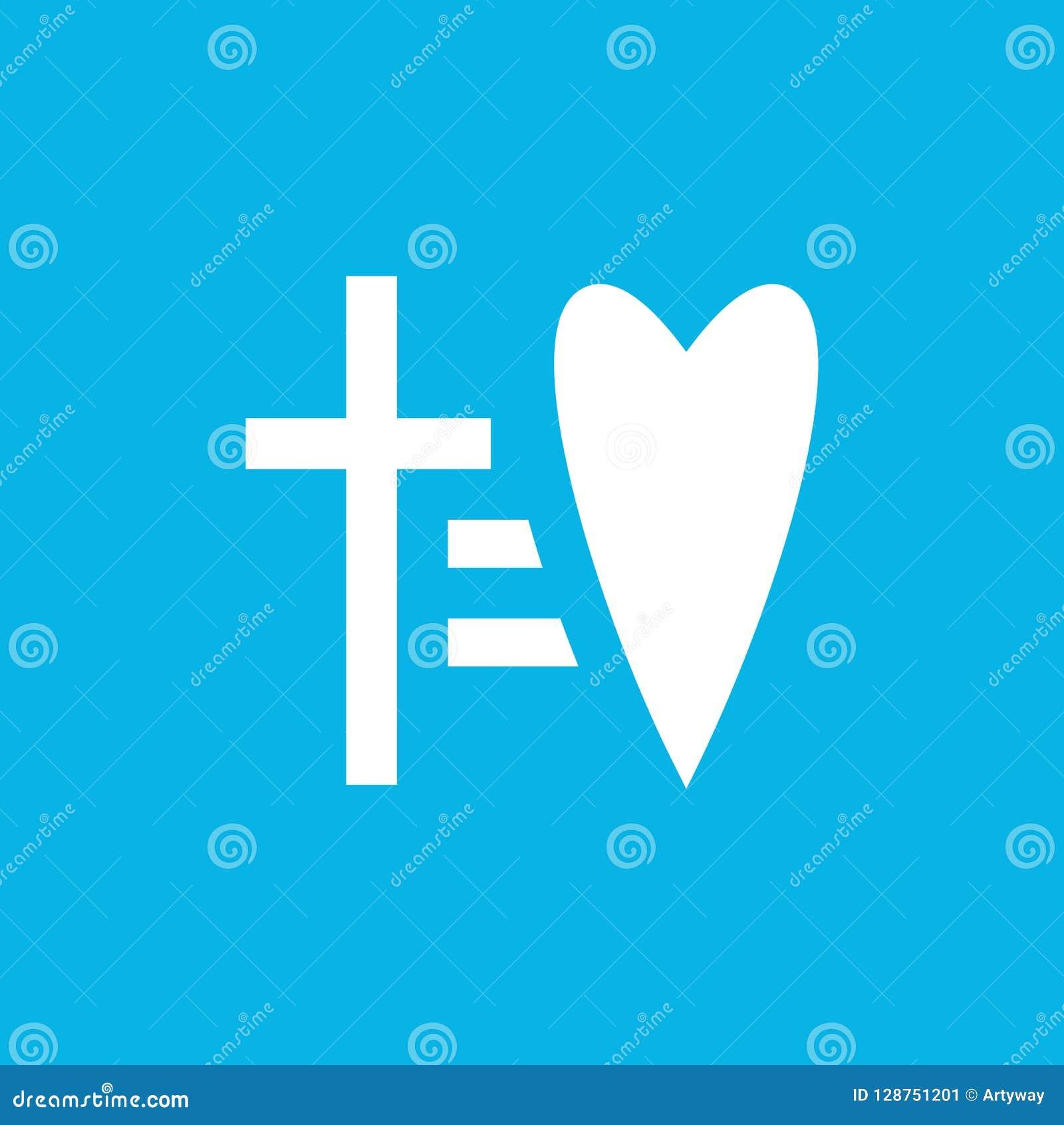 Croix égale à l icône de vecteur de coeur Calibre religieux laconique de logo de symbole Logotype de foi et d amour Signe linéair