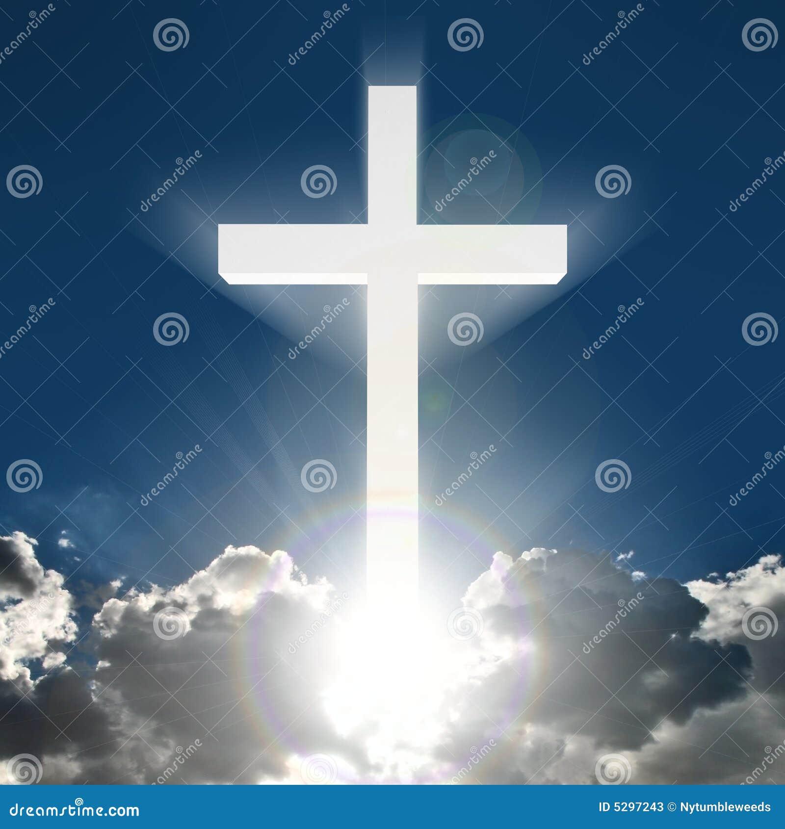 Croix 3d Blanche En Ciel Illustration Stock  Illustration