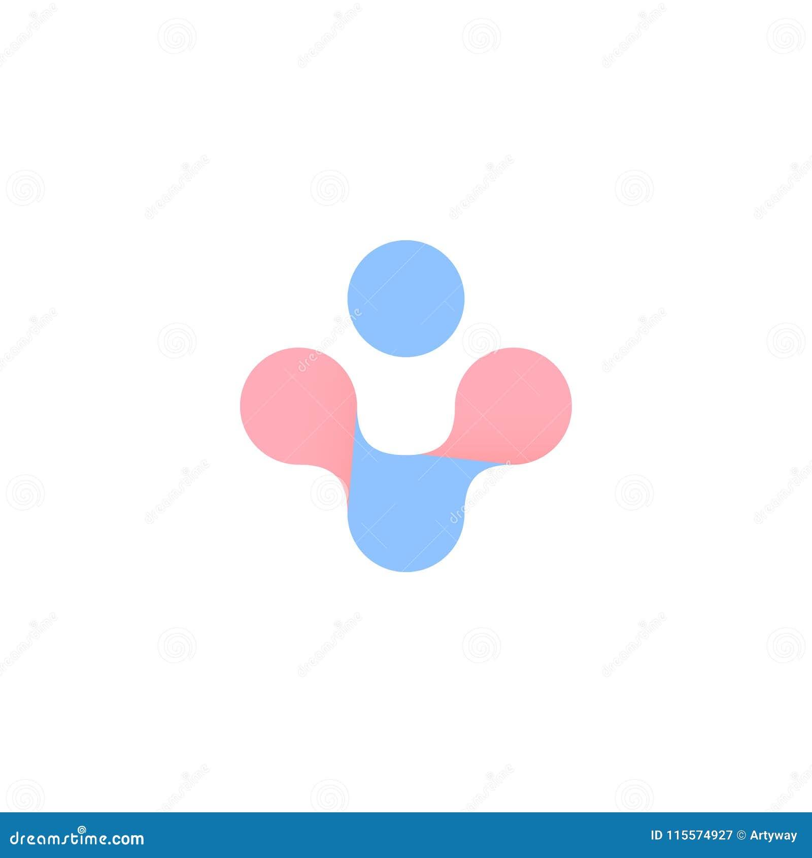 Croix abstraite bleue et rose Symbole de vecteur de santé de femme et d homme Grossesse, logo d accouchement D isolement plus l i