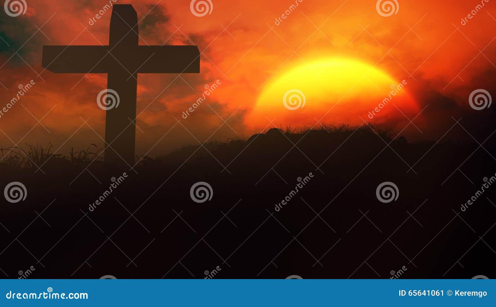 Croix dans le coucher du soleil