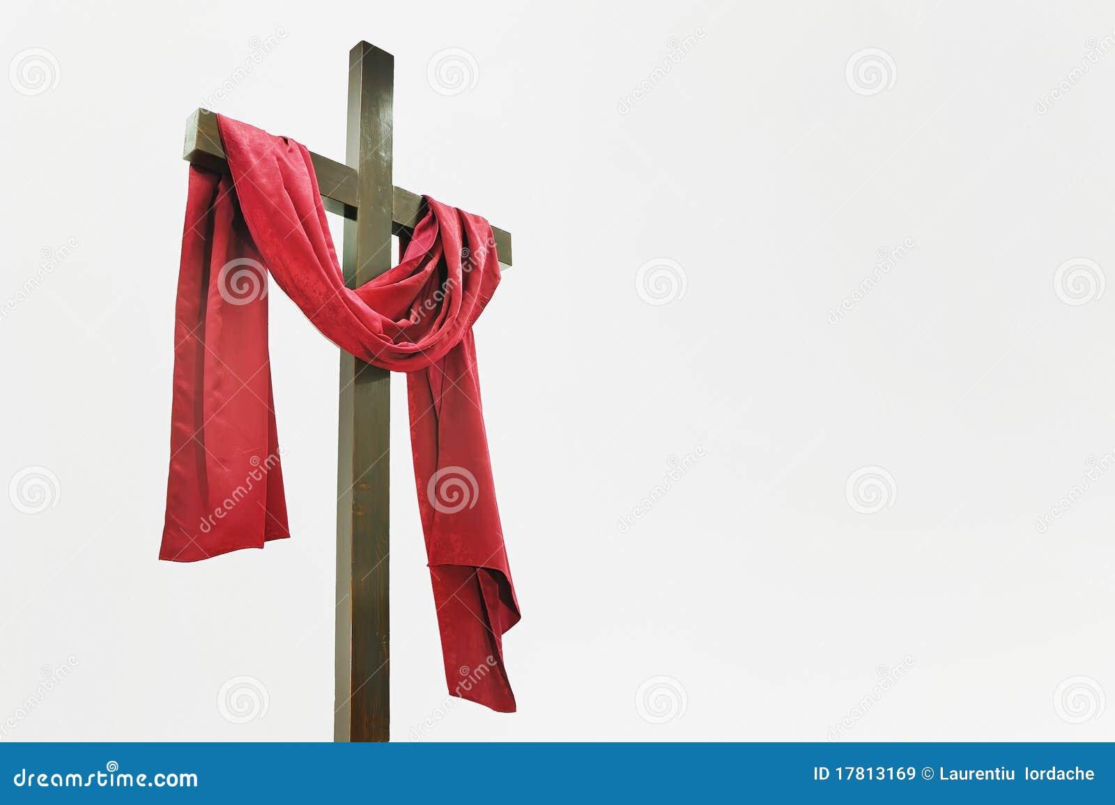 Croix Rouge Bois Colombes - Croix En Bois Avec Le Tissu Rouge Image stock Image du fake, paix 17813169