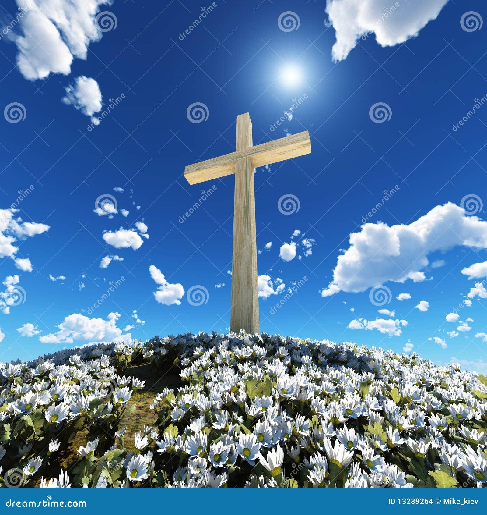 Croix entourée par des fleurs