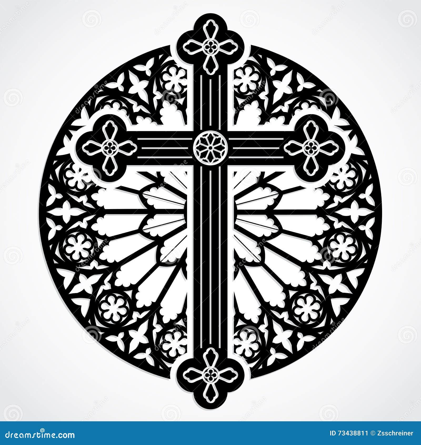 Croix gothique de silhouette sur le cercle de fen tre rose for Fenetre gothique