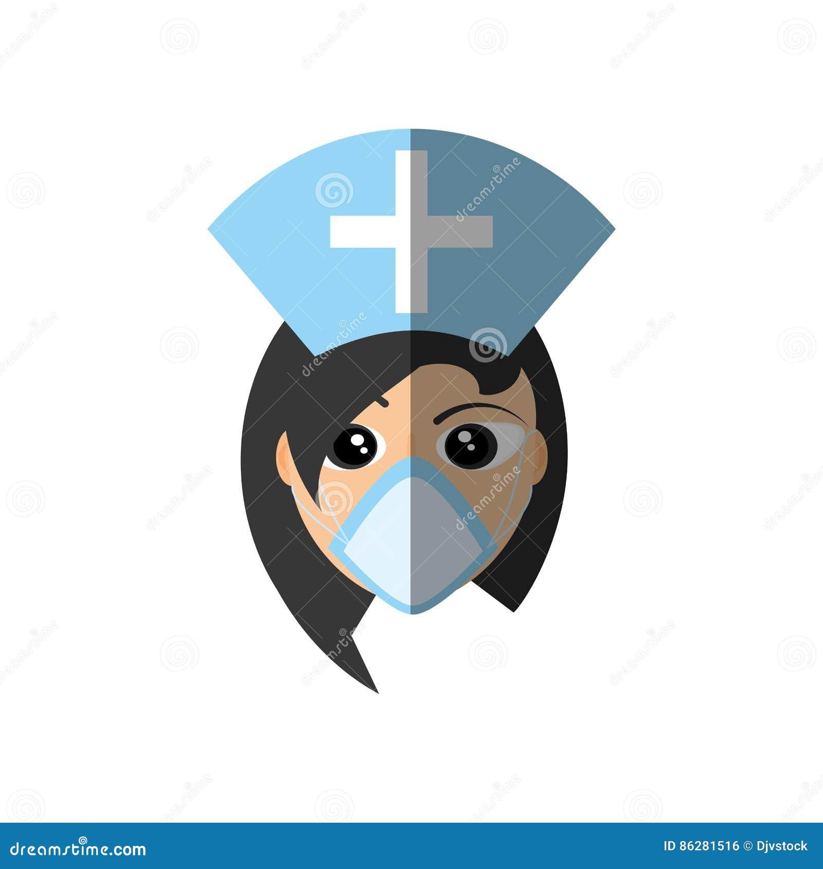 Croix médicale de chapeau de masque femelle de docteur