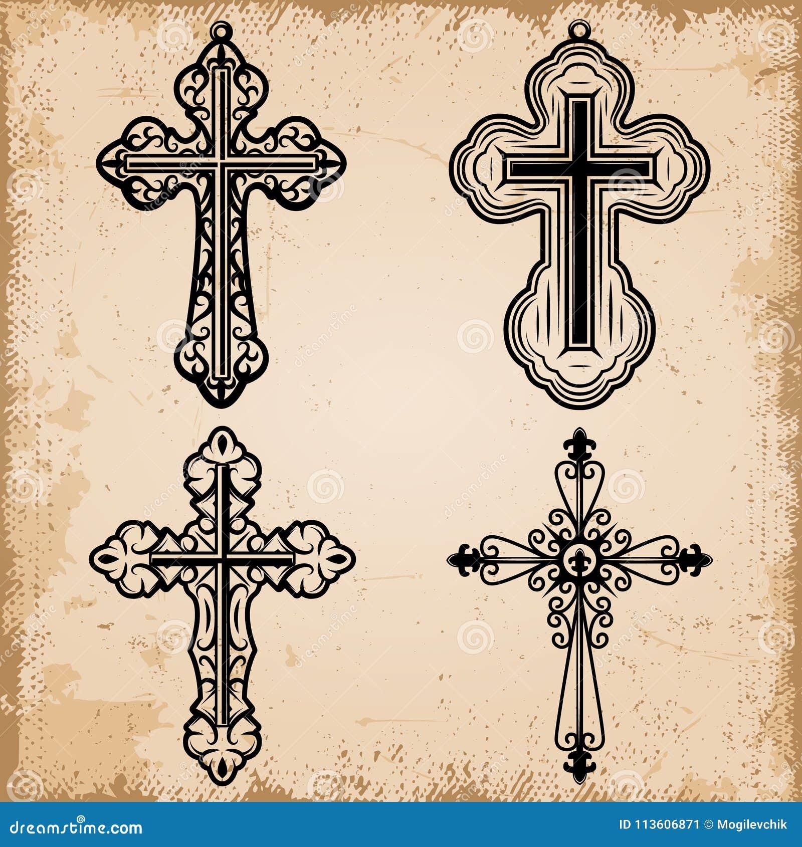 Croix Religieuses croix religieuses décoratives de vintage réglées illustration de