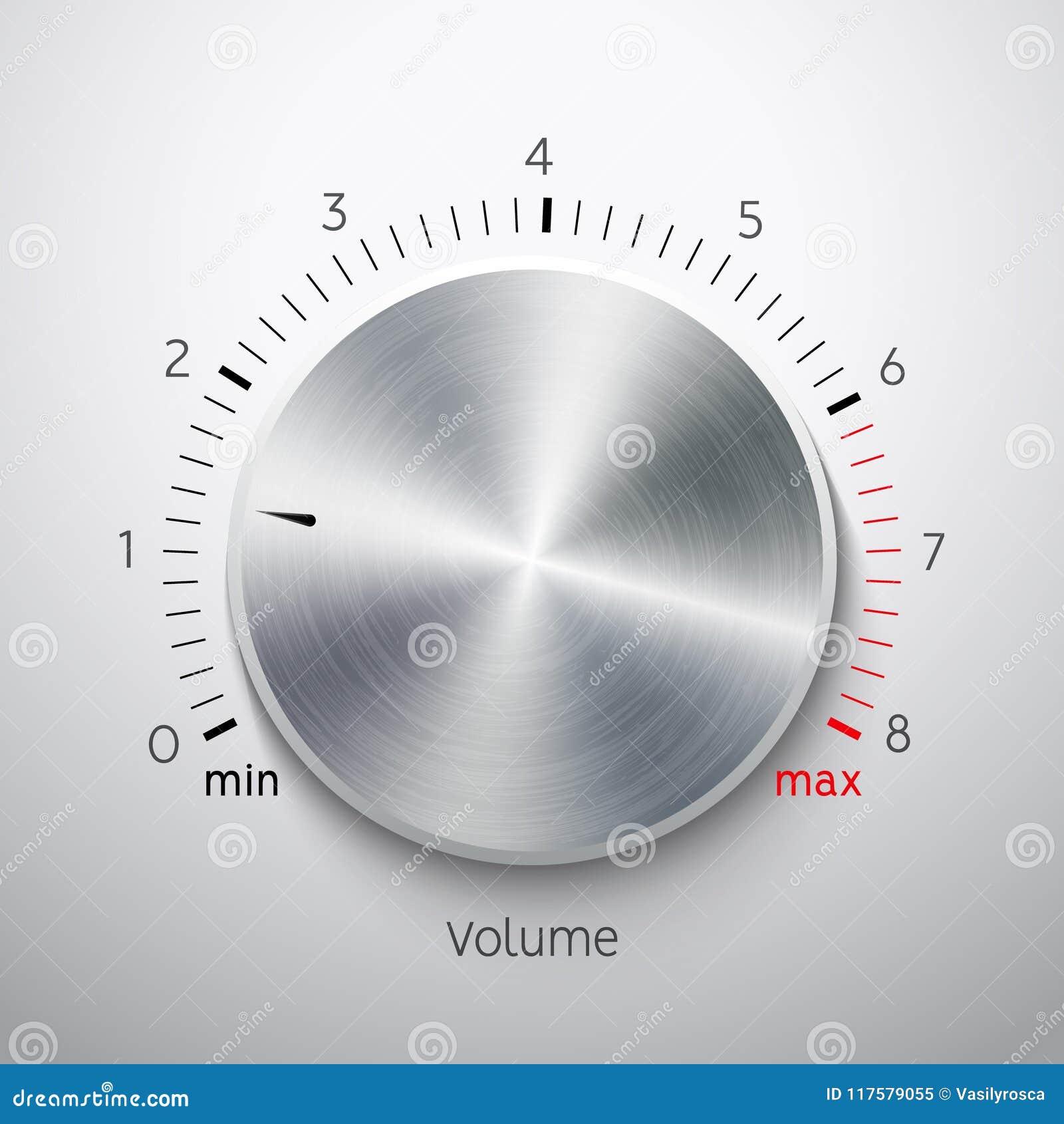 Cromo del acero de la textura del metal del botón del volumen Nivel de sonido del botón de la música Interfaz del sintonizador de