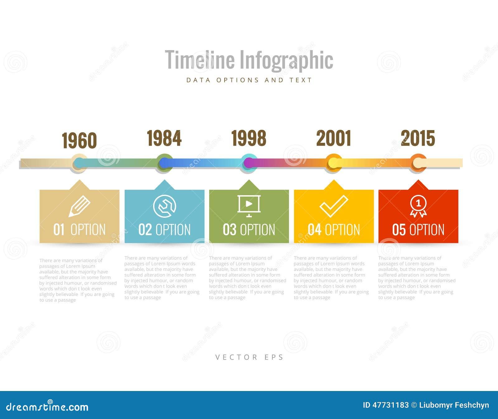 Cronología Infographic con los diagramas, las opciones de los datos y texto