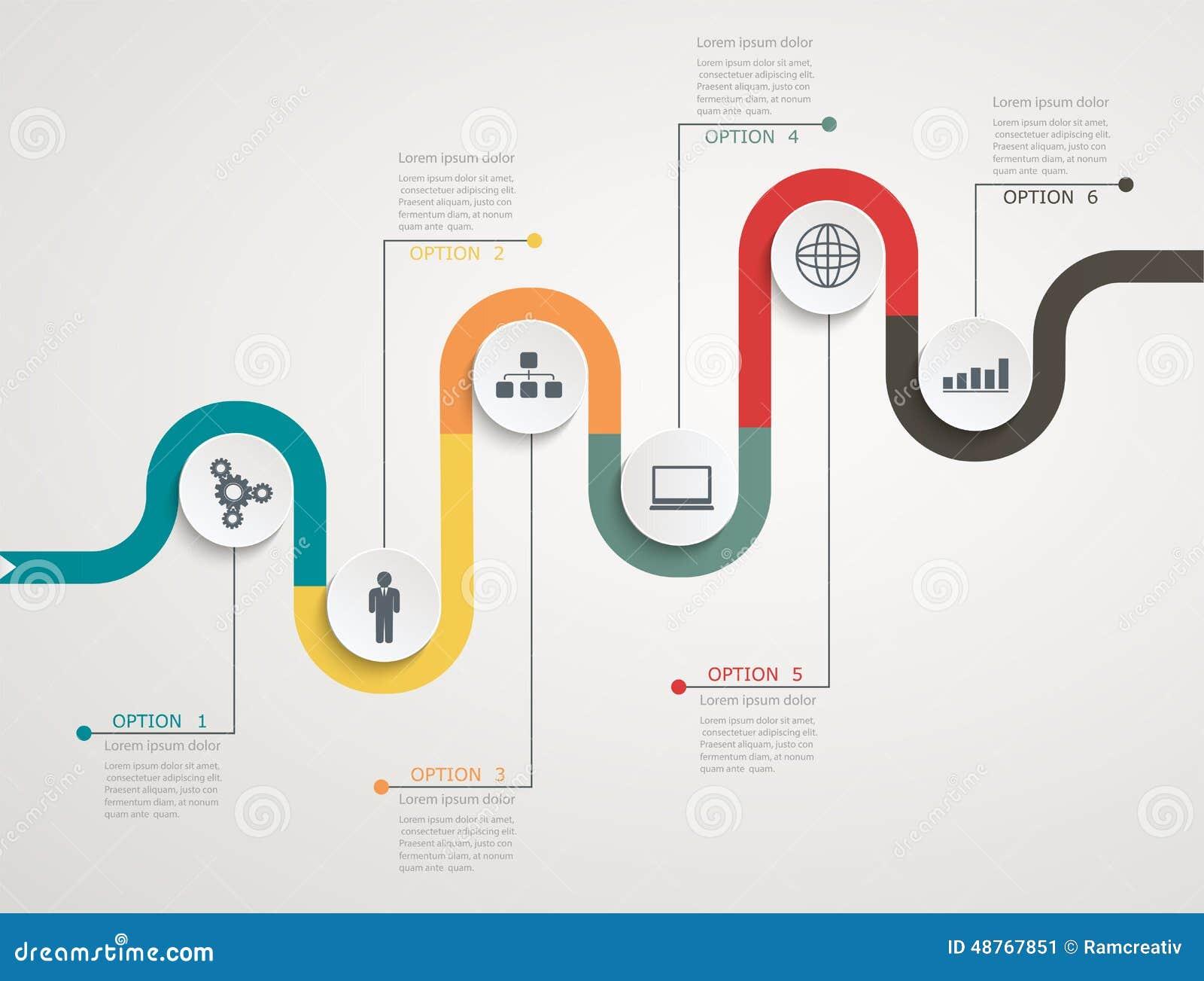 Cronología infographic con los iconos, estructura de manera gradual del camino