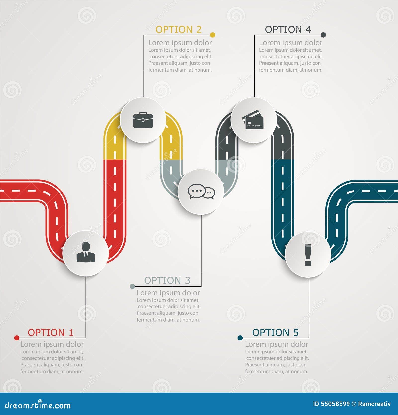 Cronología Infographic Con Los Iconos Estructura Horizontal