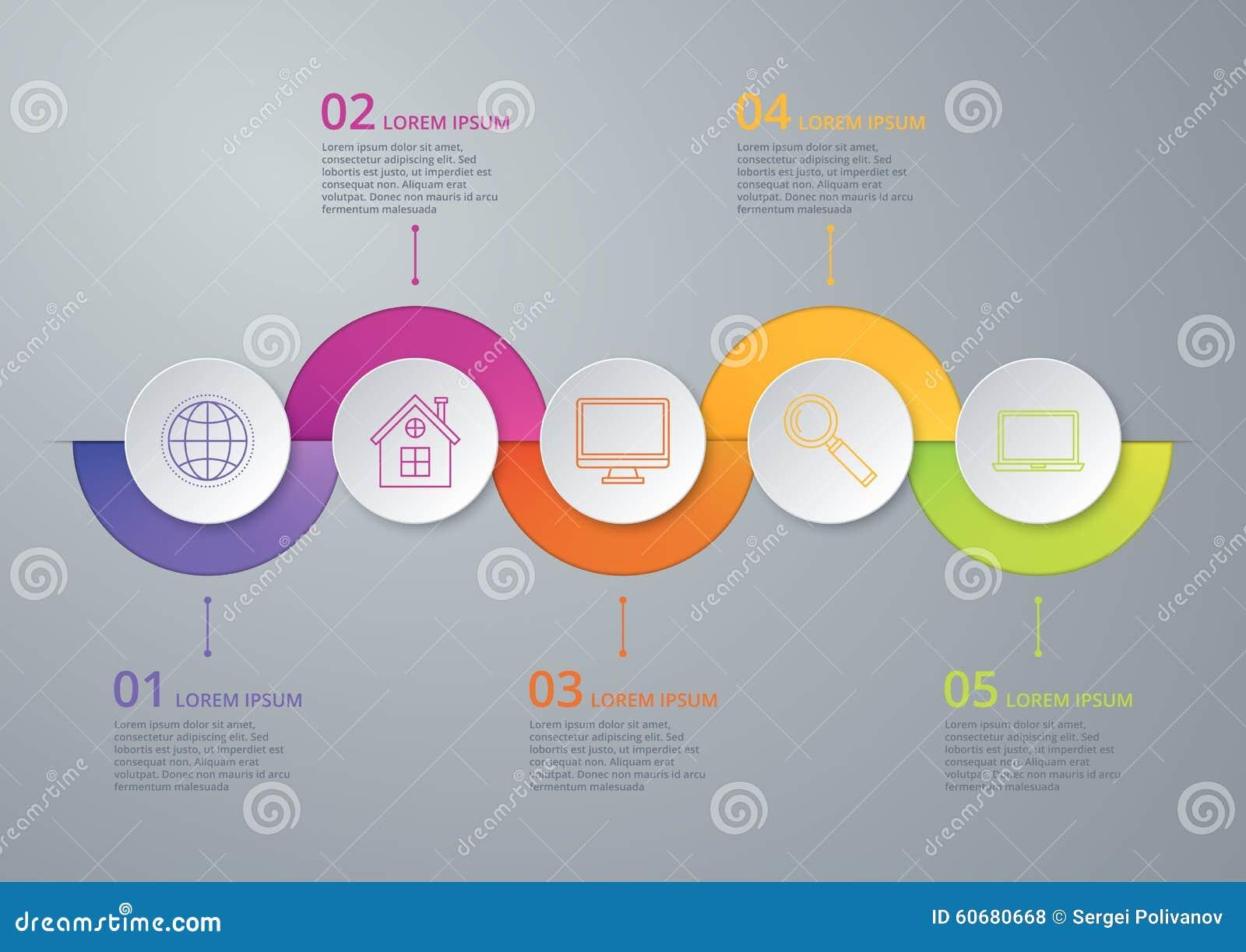 Cronología infographic del ejemplo del vector de cinco opciones