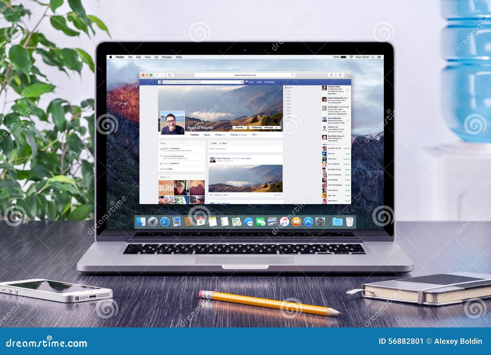Cronologia di Facebook nel profilo utente su Apple Macbook pro