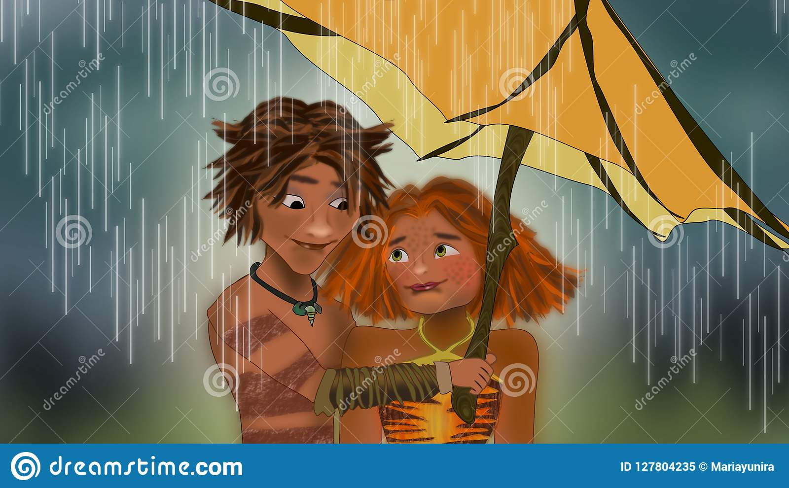 The croods under the rain scene