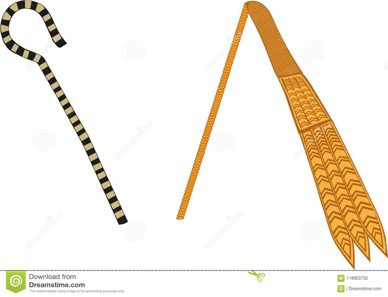 Ancient Egyptian Crook Flail Stock Illustration Illustration Of