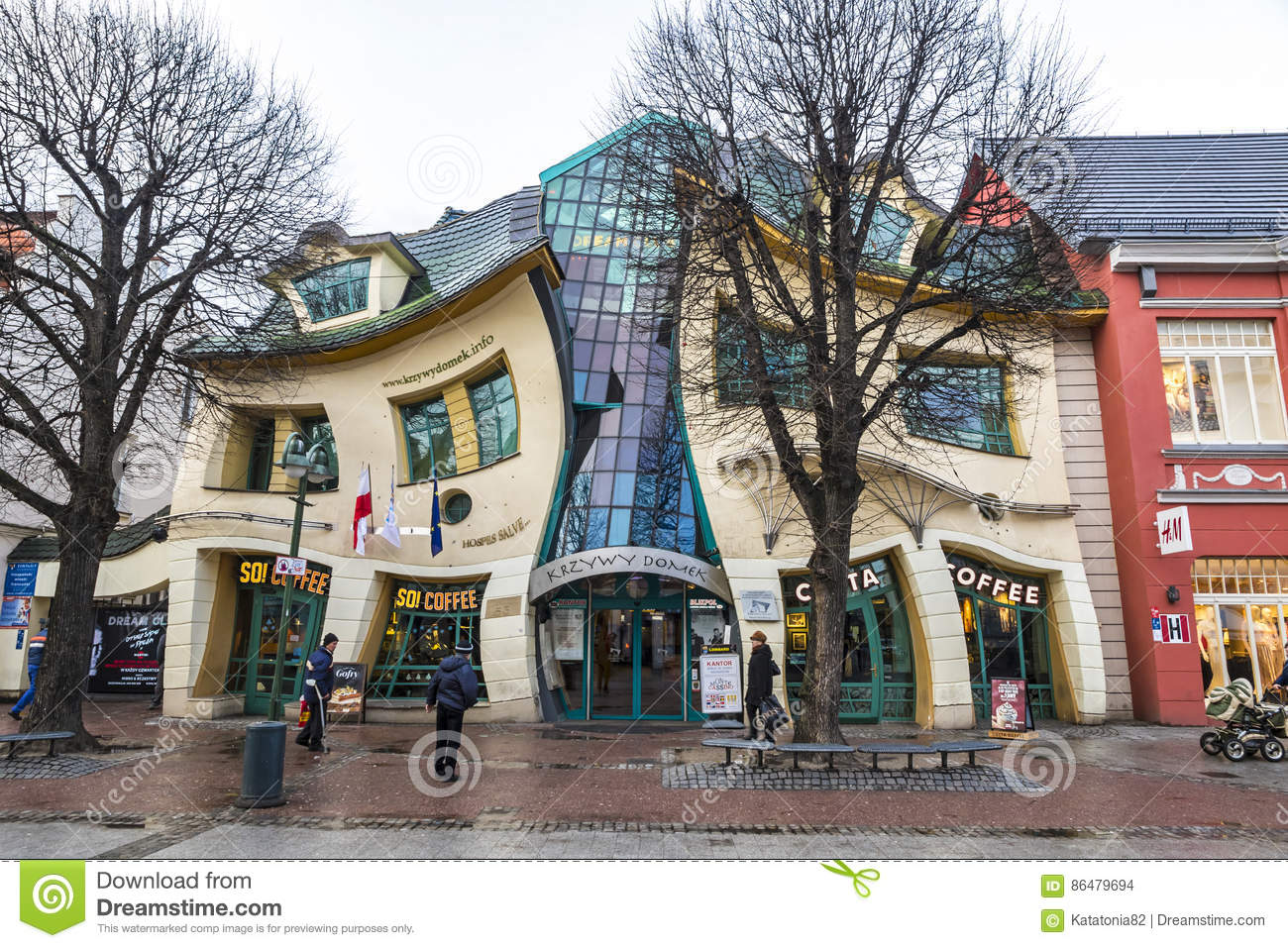 Crooked little house Krzywy Domek in Sopot, Poland