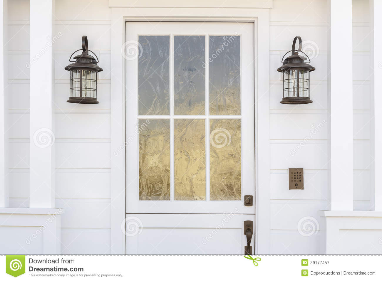 Cropped Detail Of White Door Of Classic White Home Stock Image