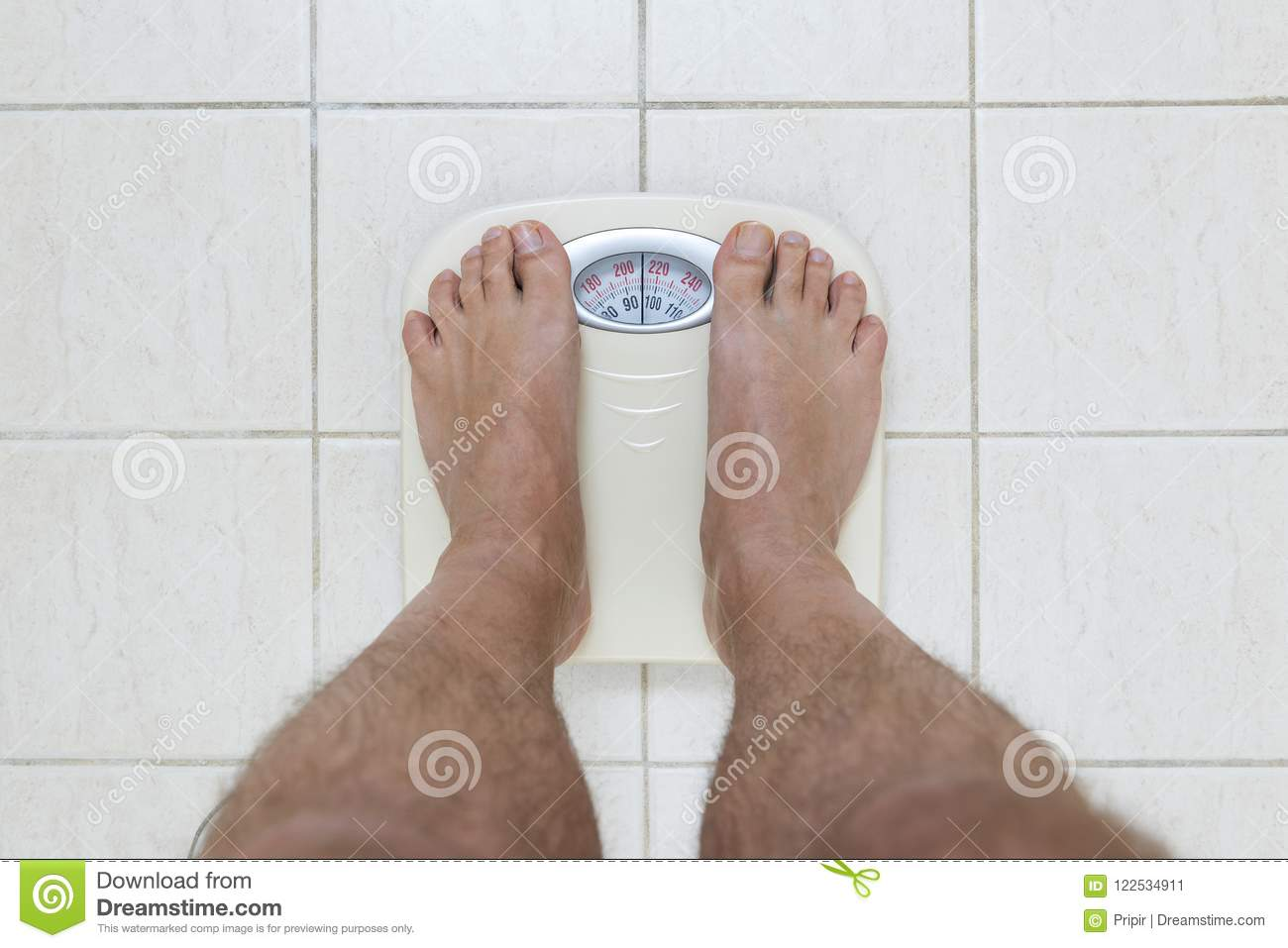 Cropped Image Of Man Feet Standing On Weigh Scale Stock ...