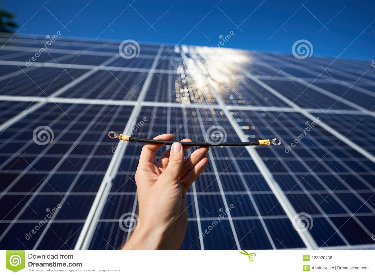 Wiring Solar Panels To Batteries Part Of Red Wires Needing By Installing Stock Photo