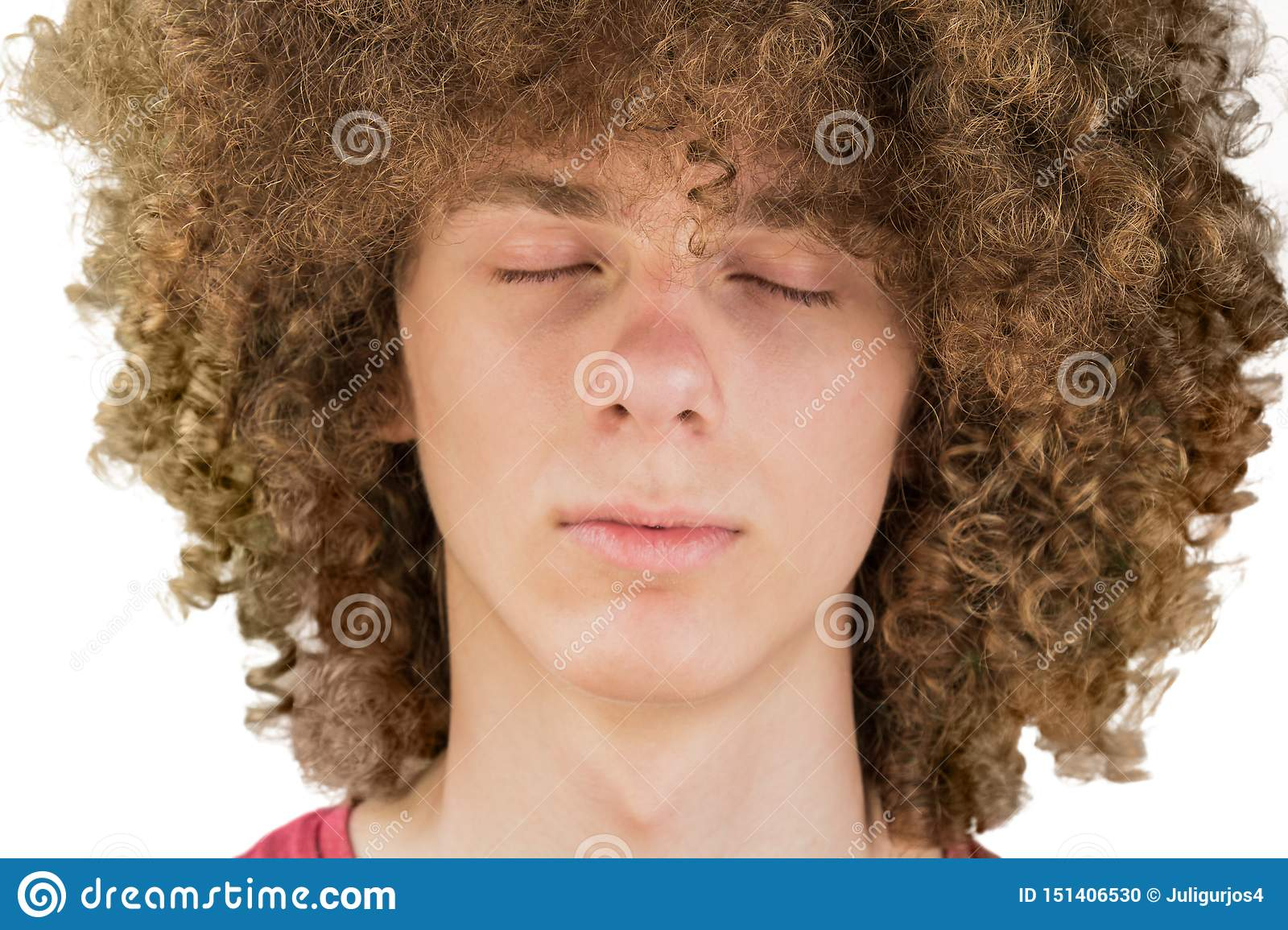 Cropped Portrait Of A Young Curly European Man With Long Curly Hair And Closed Eyes Close Up Very Lush Male Hair Curling Hair Stock Photo Image Of Curling Link 151406530