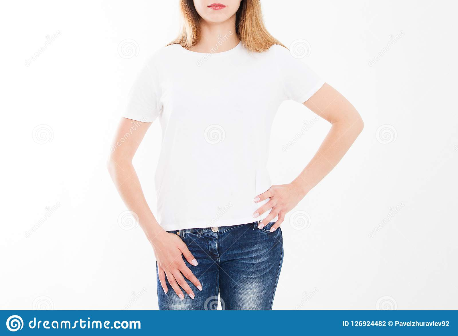 Cropped portrait of young girl in tshirt. T-shirt design, people concept - closeup of woman in white shirt, front isolated
