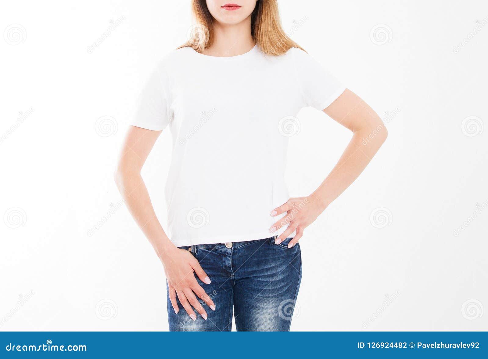 Cropped portret młoda dziewczyna w tshirt Koszulka projekt, ludzie pojęć - zbliżenie kobieta w białej koszula, stać na czele odos