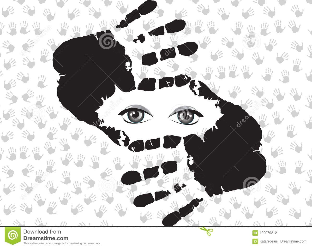 Cropping Symbol Made Of Hands With Eyes Inside Isolated On White