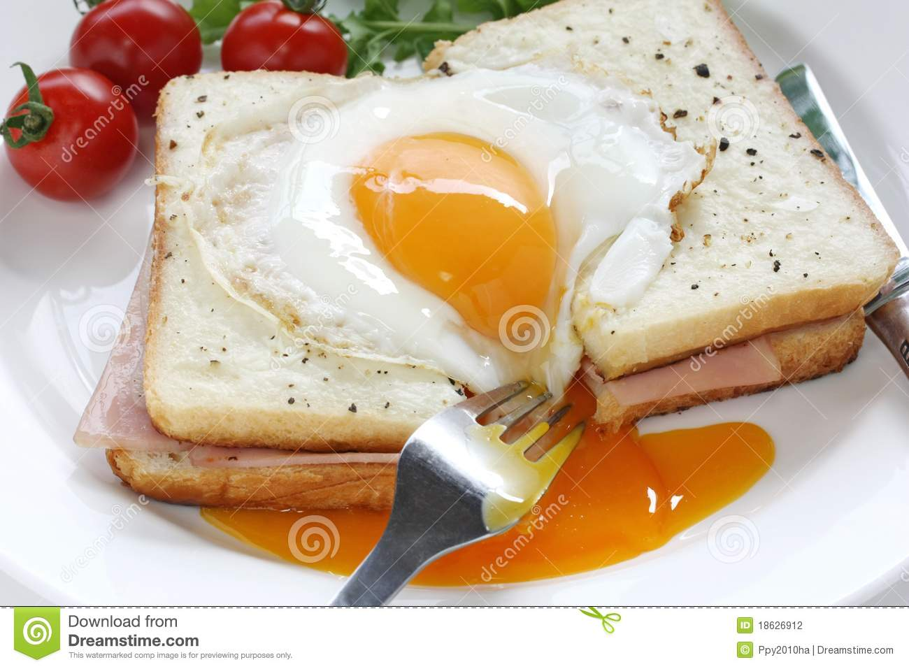Croque Madame , French Ham And Cheese Sandwich Wit Stock ...