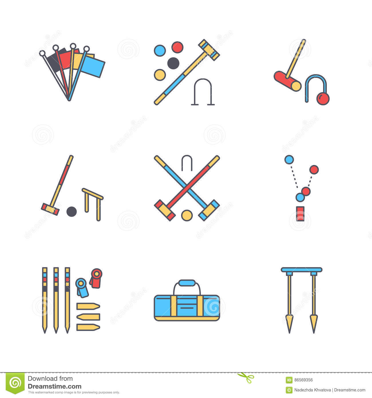 Croquet sport game vector line icons ball mallets hoops pegs croquet sport game vector line icons ball mallets hoops pegs corner flags garden lawn activities signs set pooptronica Image collections