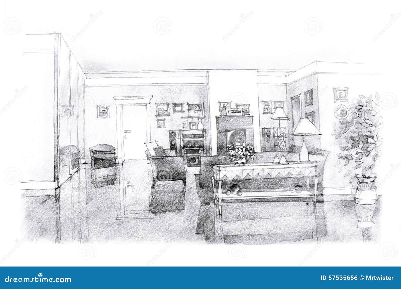 Croquis main lev e d 39 un salon illustration stock image for Croquis salon