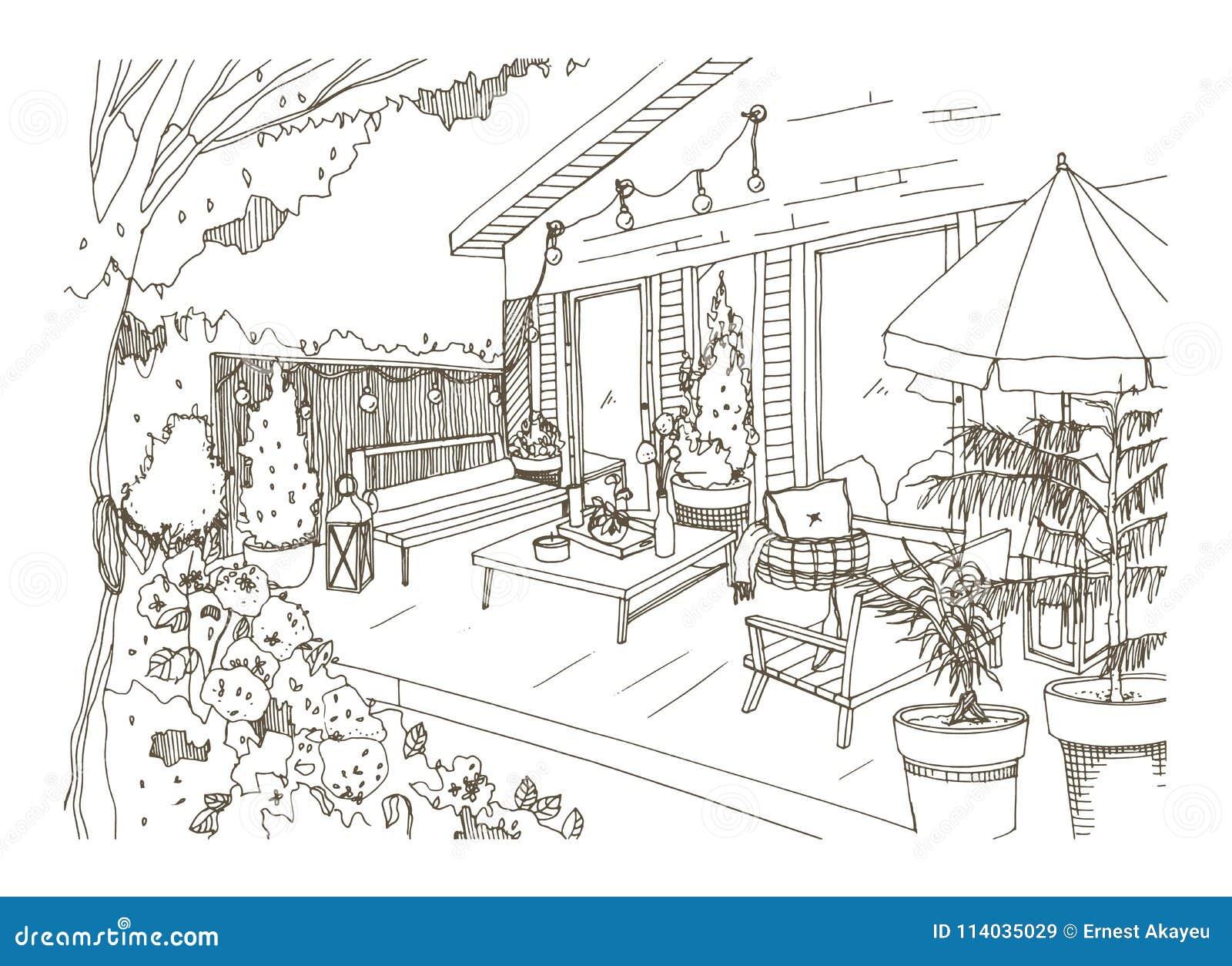 Croquis à main levée du patio ou de la terrasse d arrière-cour meublée dans le style de hygge de Scandic Véranda de Chambre avec