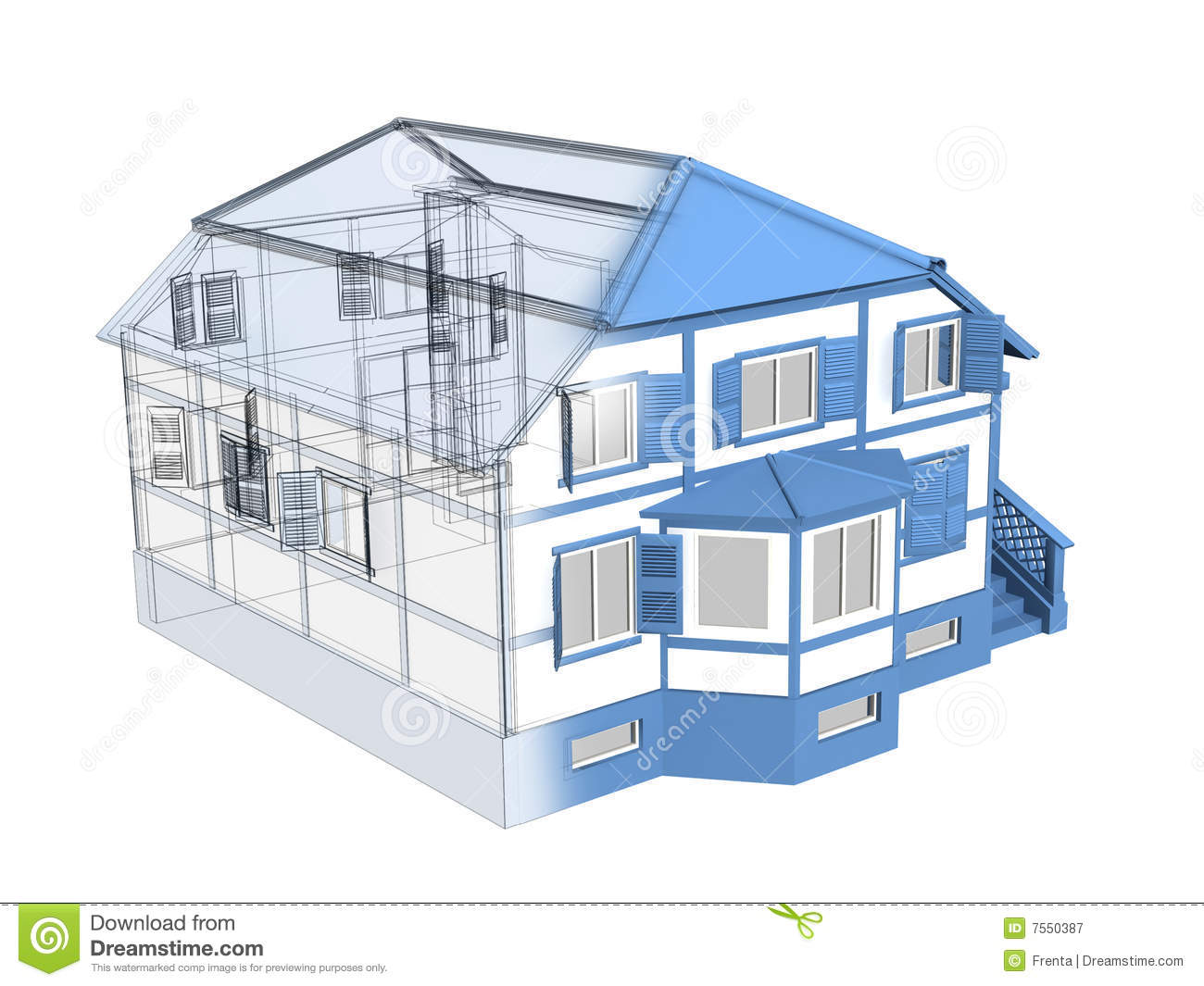 Croquis 3d d 39 une maison photographie stock libre de droits Drawing modern houses