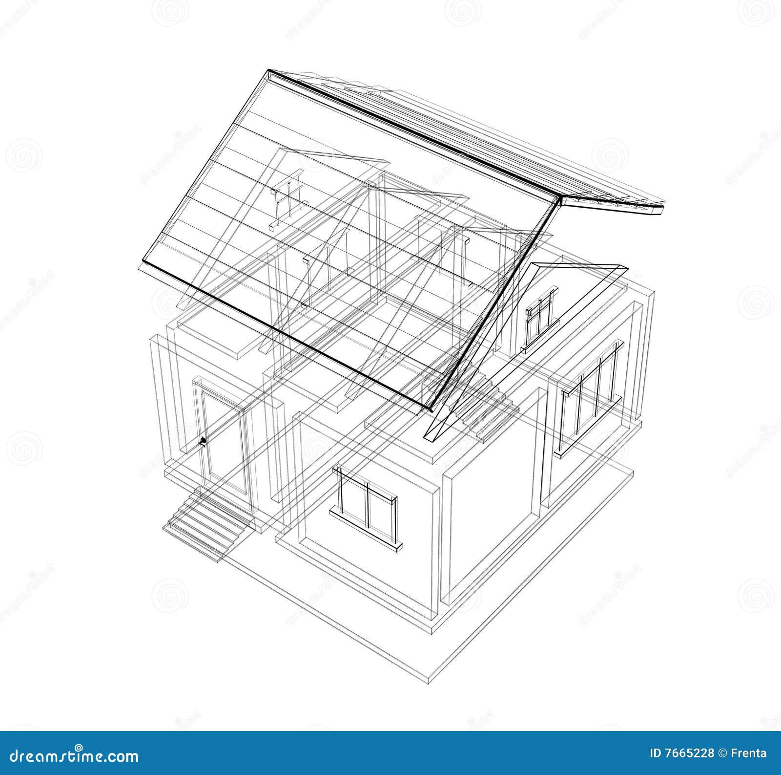 Croquis 3d d 39 une maison illustration stock illustration Croquis d une maison