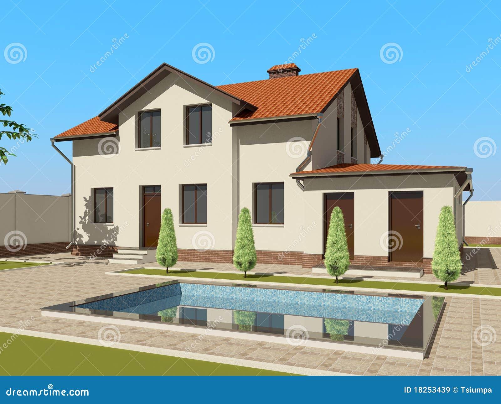 Croquis 3d de la maison images libres de droits image for Architecture 3d maison