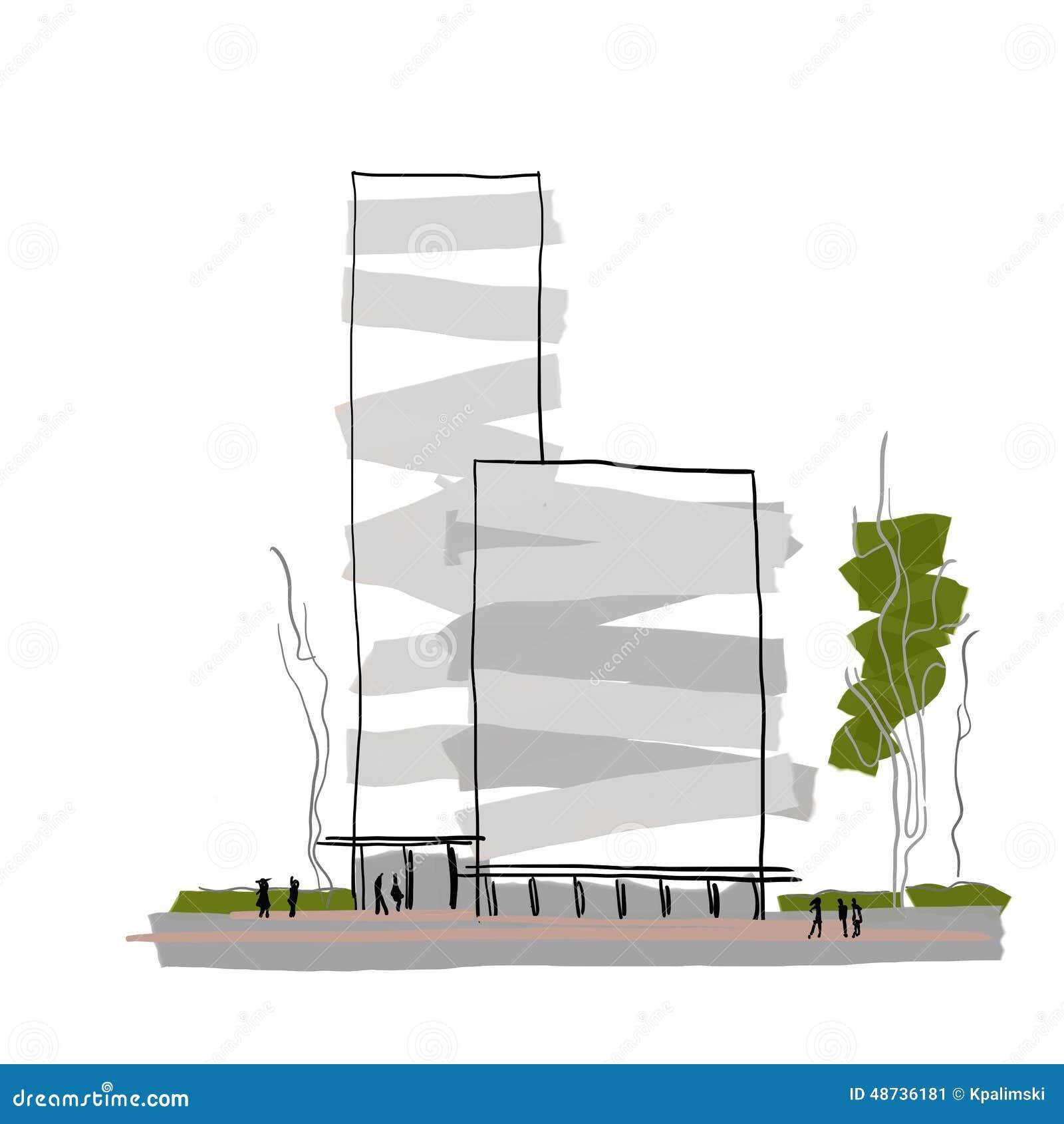 Croquis architectural d 39 architecture de b timent d 39 abr g for Architecture de batiment moderne