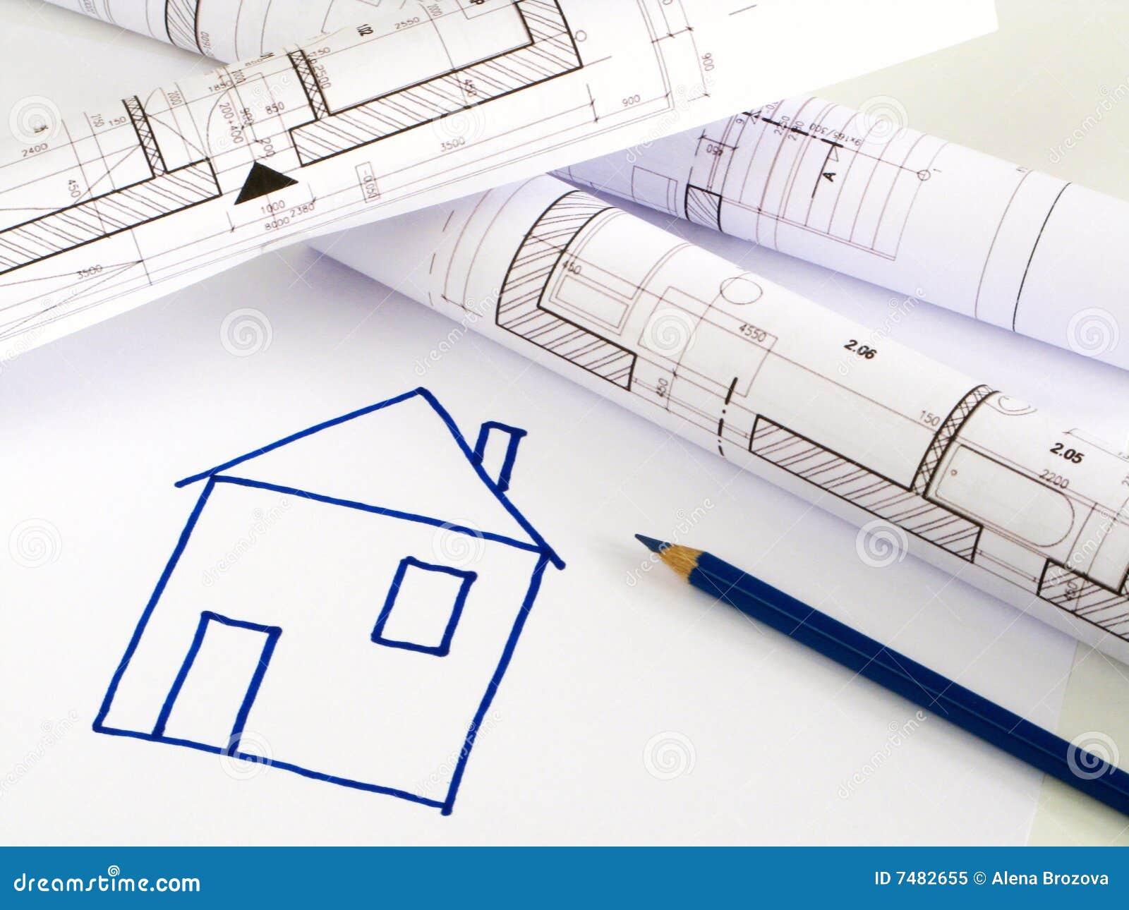 Croquis architectural de plan de maison photo libre de for Croquis d une maison