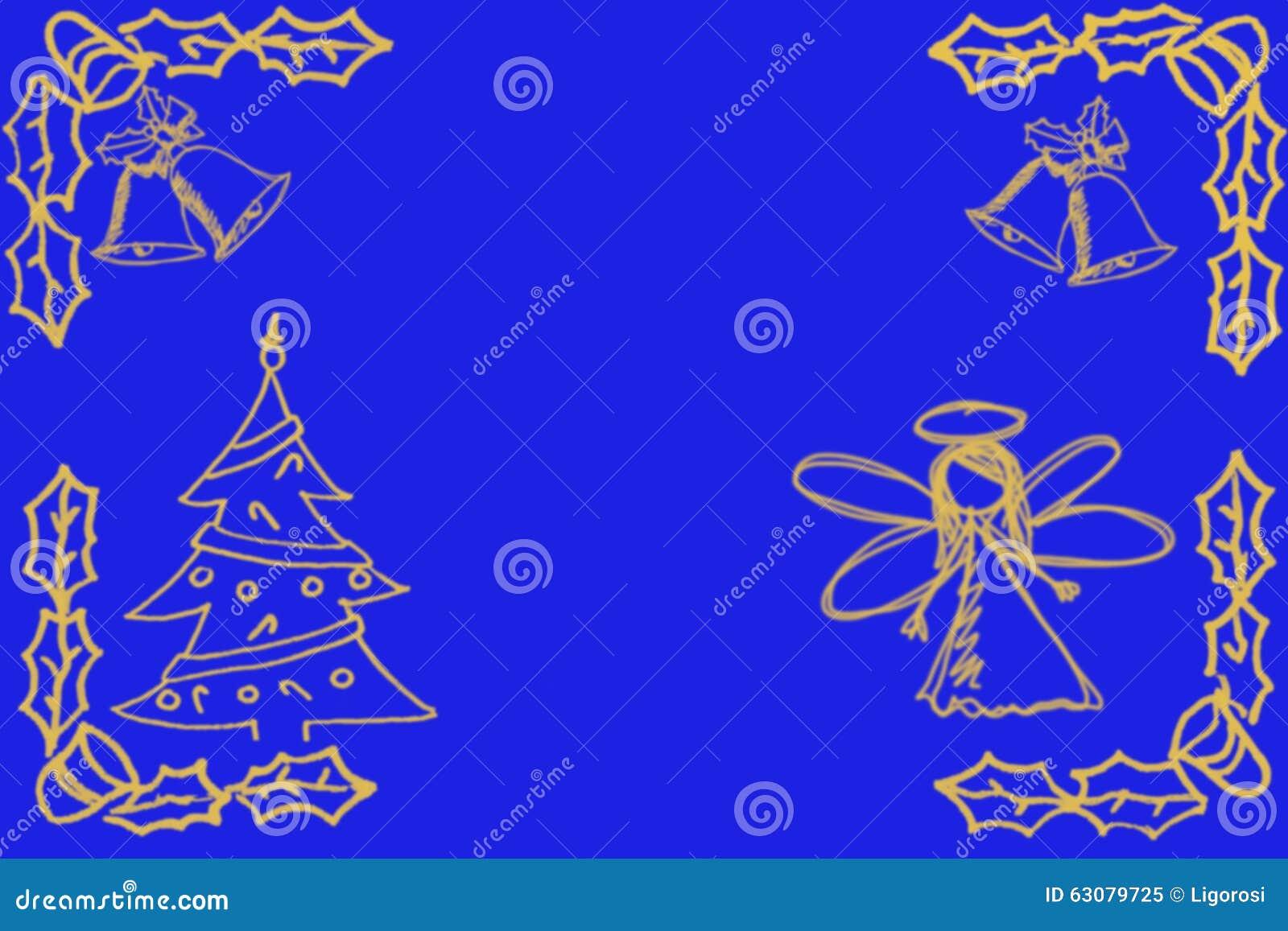 Download Croquis Avec L'ange, L'arbre De Noël Et Les Cloches Dessus Image stock - Image du stupéfier, brouillé: 63079725