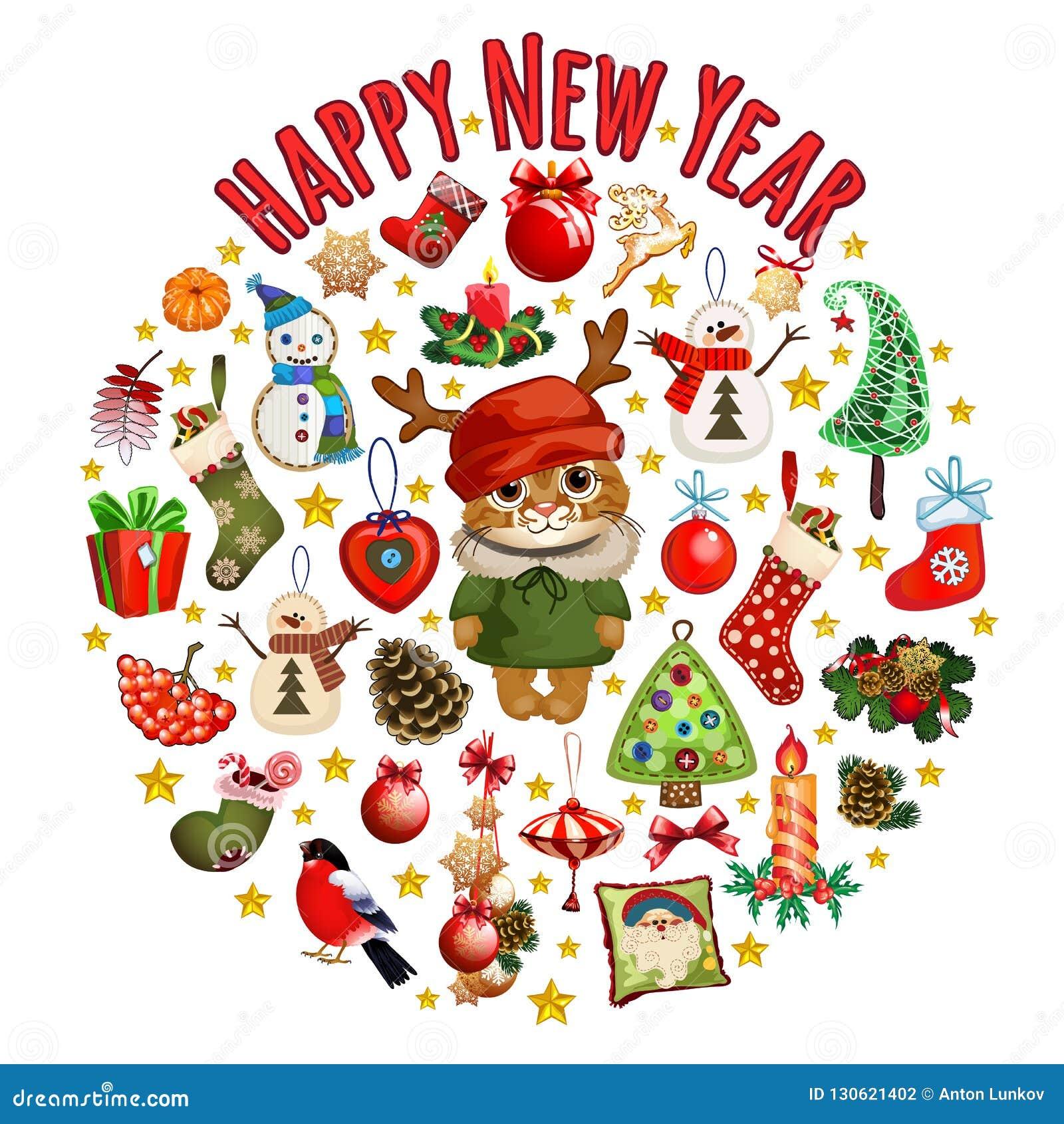 Croquis avec le chat mignon dans un chapeau rouge avec des klaxons avec les décorations classiques de Noël Échantillon de l affic