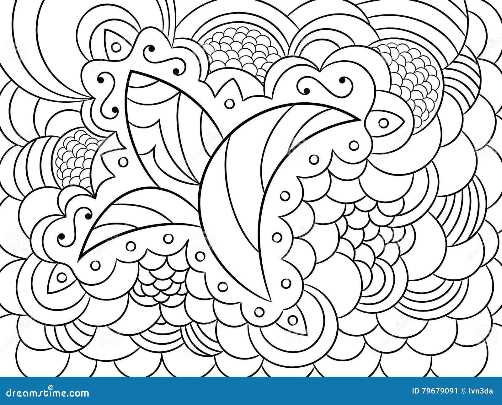 Coloriage Adulte Vegetation.Croquis Avec Les Articles Abstraits Floraux De Vegetation Et De