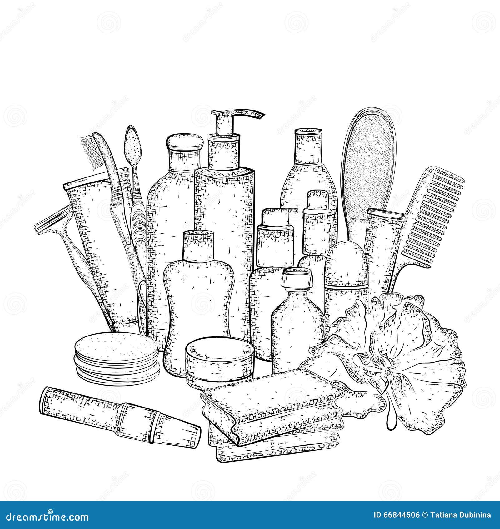 Croquis d taill des l ments pour le bain ou la douche d for Rack pour le bain