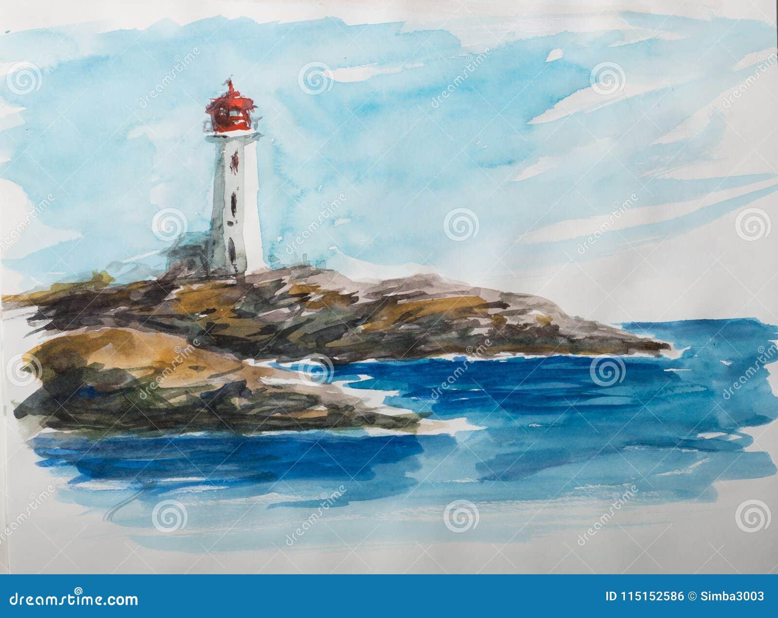 Croquis d aquarelle avec le phare