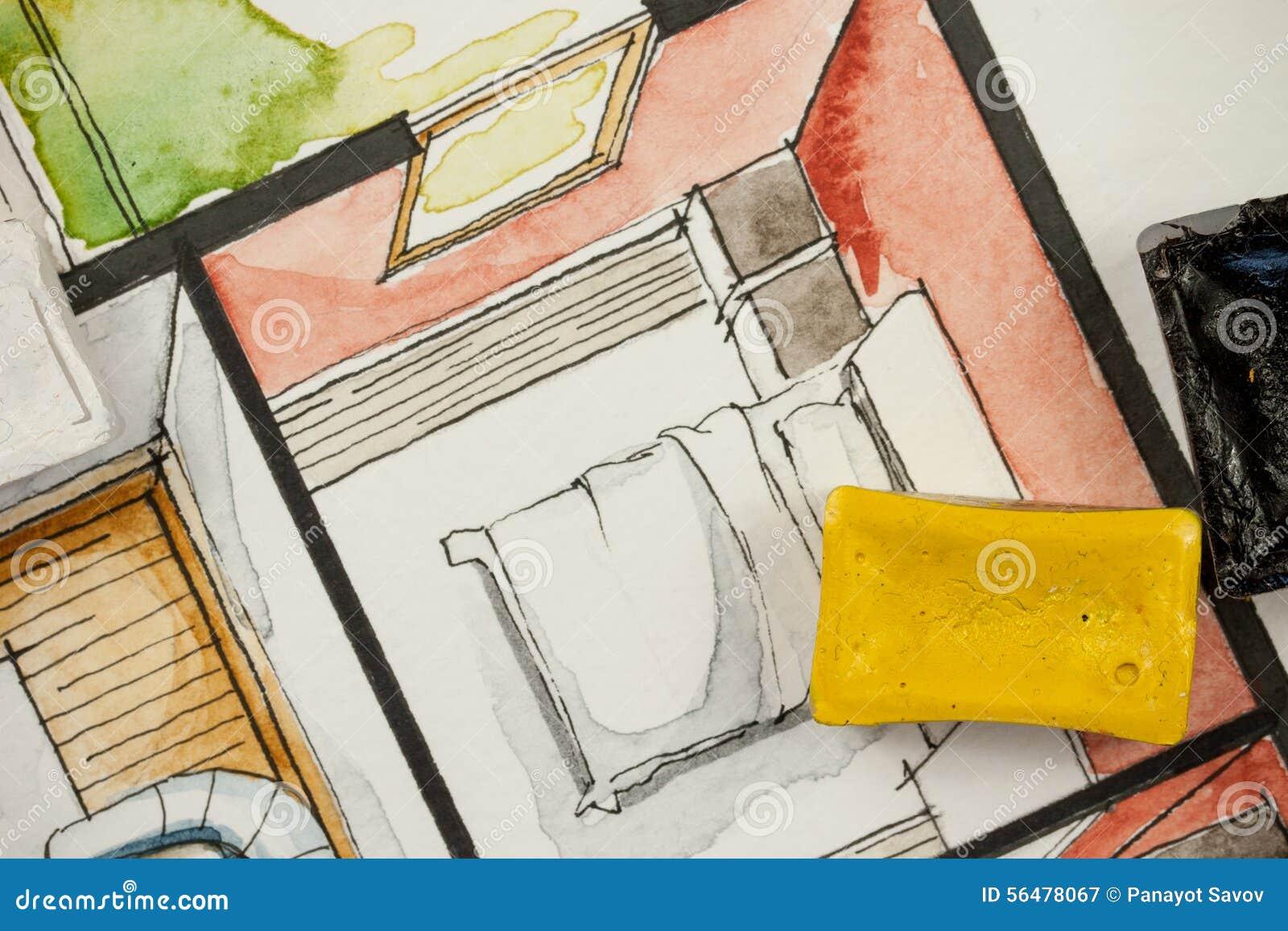 Croquis d aquarelle d aquarelle avec des blocs de peinture, montrant le fragment partiel de chambre à coucher d un plan d étage p