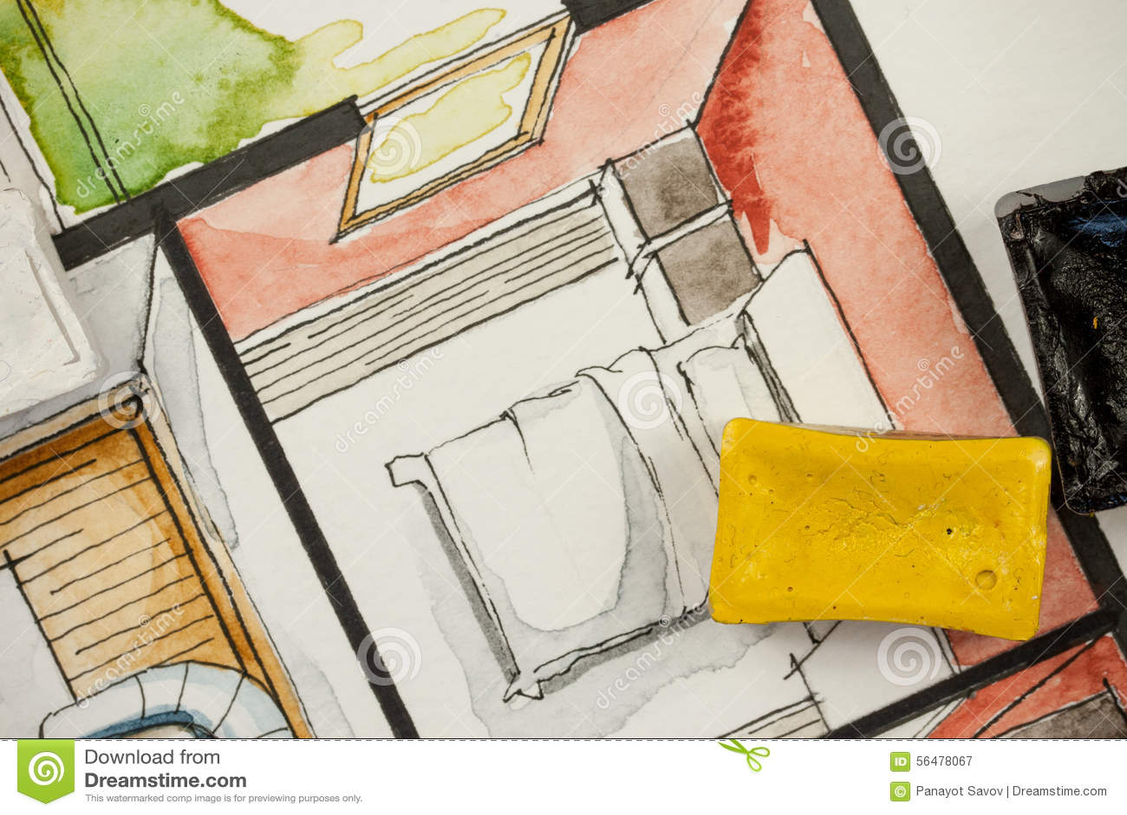 Conception de chambre à coucher de la peinture d'aquarelle photo ...