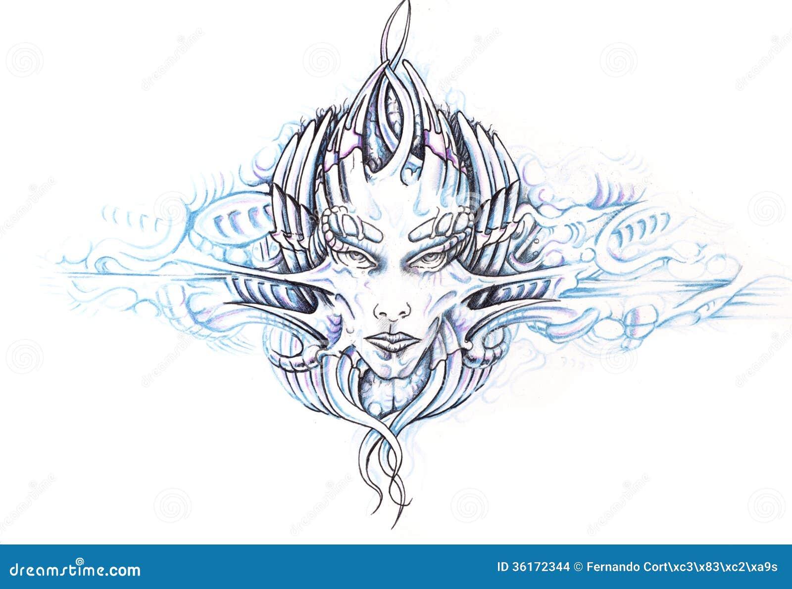 Croquis D'art De Tatouage, Monstre Images stock - Image: 36172344